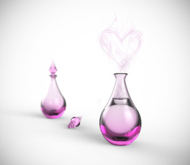 Love potion. Perfume bottle with heart vapor