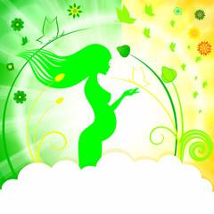 Зеленая открытка, беременная девушка