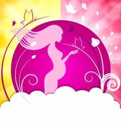 Розовая открытка, беременная девушка
