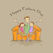vector illustration of father with kid