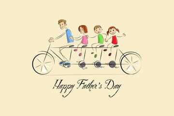 vector illustration of family enjoying tandem bicycle ride