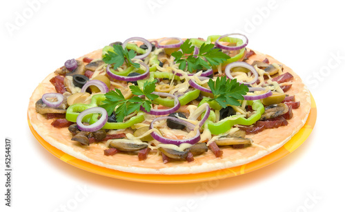 Appetizing pizza on a plate on a white background