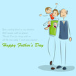 vector illustration of father and son in Father's Day background