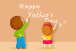 vector illustration of kids writting Happy Father's Day message