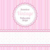 seamless strips pattern, polka dot and border and round label.