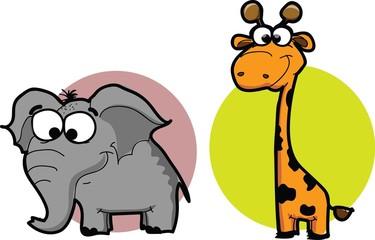 Мультфильм животных - слона и жирафа, вектор