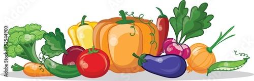 Постер, плакат: Мультфильм овощи, холст на подрамнике