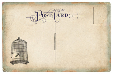 Bird cage with bird drawn in retro style