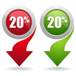 20  percent button with arrow