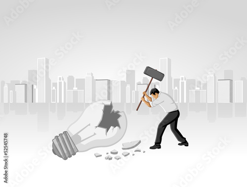 Business man breaking light bulb. Destroying idea.