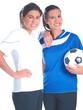 zwei mädchen mit  fußball