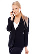 Happy blond business woman using her mobile