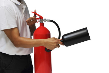A man showing how to use fire extinguisher isolated over white b