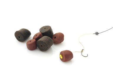 baits and fishing equipment isolated