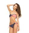 woman in bikini with american flag