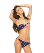 model in bikini with american flag