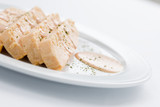 pink fish cake with mayonnaise is a tipical spanish meal