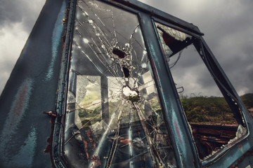 smashed cab window
