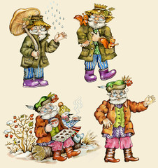 Little funny forest old man characters autumn collection