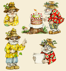 Little funny forest old man characters collection