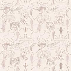 Handmade seamless  pattern of human organs