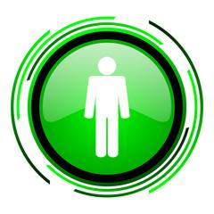 man green circle glossy icon