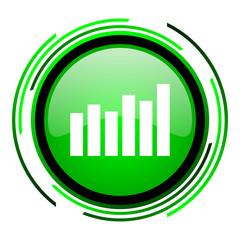 bar graph green circle glossy icon