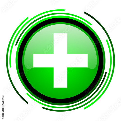 emergency green circle glossy icon