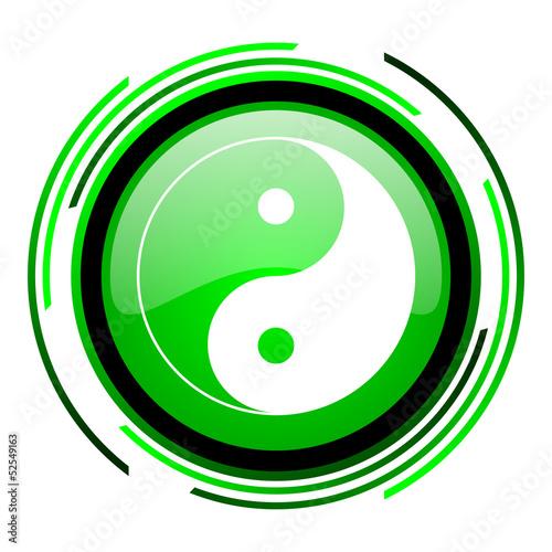 ying yang green circle glossy icon