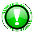 exclamation sign green circle glossy icon