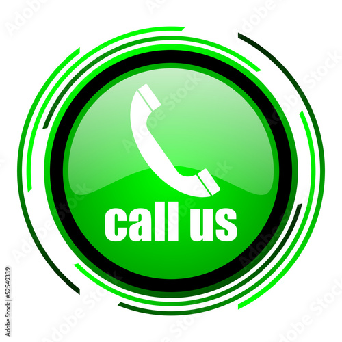 call us green circle glossy icon