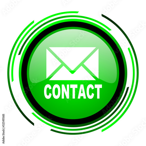 contact green circle glossy icon