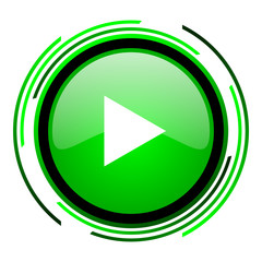play green circle glossy icon