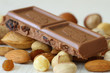 Milk chocolate with mixed nuts, close up