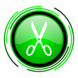 scissors green circle glossy icon