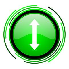 arrows green circle glossy icon