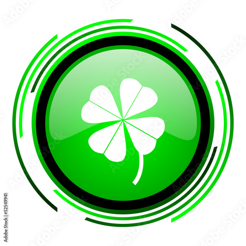 four-leaf clover green circle glossy icon