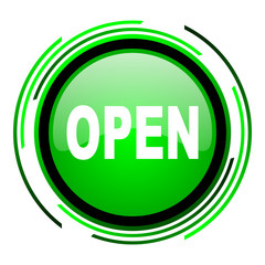 open green circle glossy icon