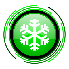 snowflake green circle glossy icon
