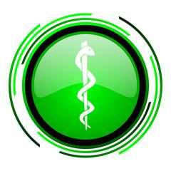 caduceus green circle glossy icon