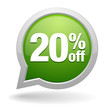 20 percent off green speech bubble