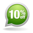 10 percent off green speech bubble