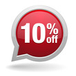 10 percent off red speech bubble