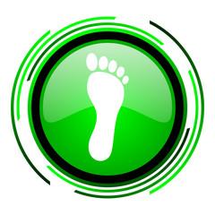 footprint green circle glossy icon