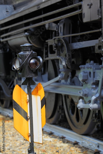 Railroad Signal and Steam Locomotive