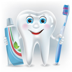 Funny tooth with toothpaste and toothbrush