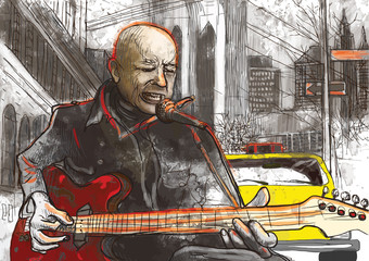 guitar player (hand drawing converted into vector)