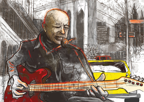 guitar player (hand drawing converted into vector) © kuco