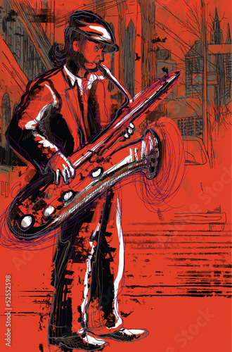 sax player (hand drawing converted into vector)
