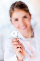 Cardiologist holding stethoscope